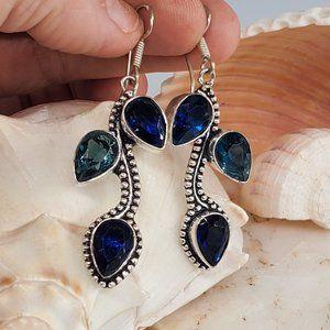 Silver Earrings Blue Quartz Stone